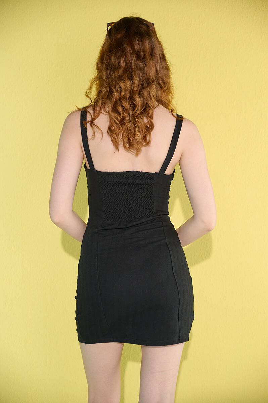 Siyah Askılı Düğme Detaylı Keten Elbise (zck0306)
