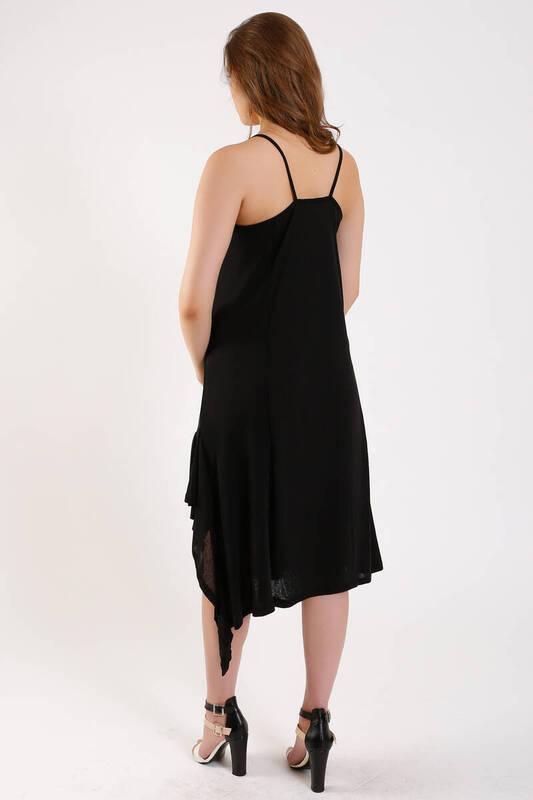ZECHKA - SİYAH Askılı Eteği Fırfırlı Elbise (ZA013)