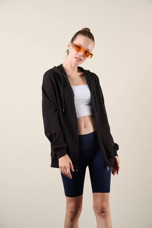 Zechka - Siyah Fermuarlı Kapüşonlu Oversize Sweatshirt (zck0341)
