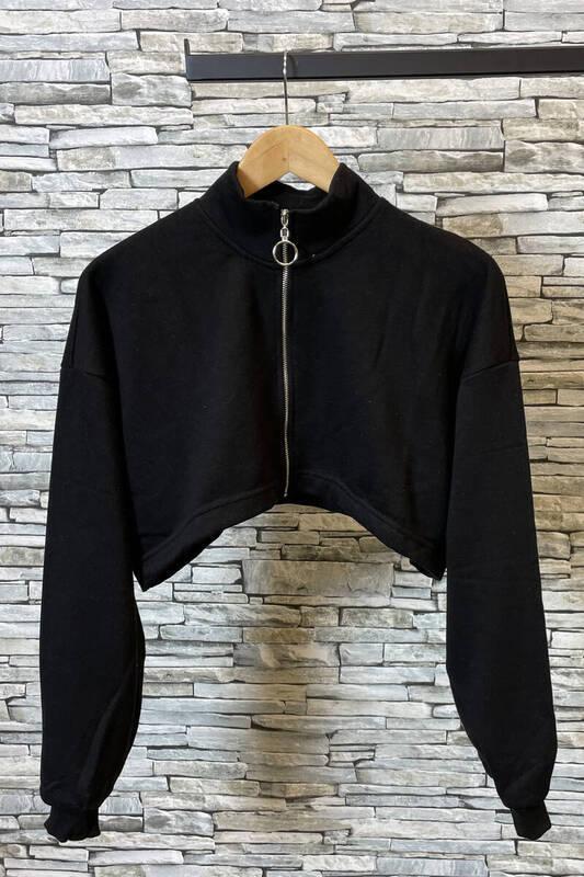 Zechka - Siyah Fermuarlı Kısa Sweat (zck0357)