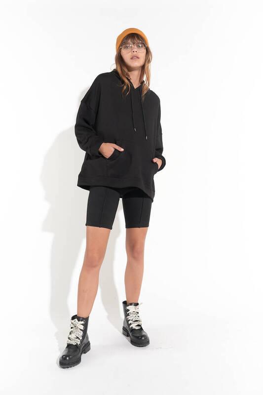 Zechka - Siyah Kanguru Cep Kapüşonlu Oversize Sweatshirt (zck0110)