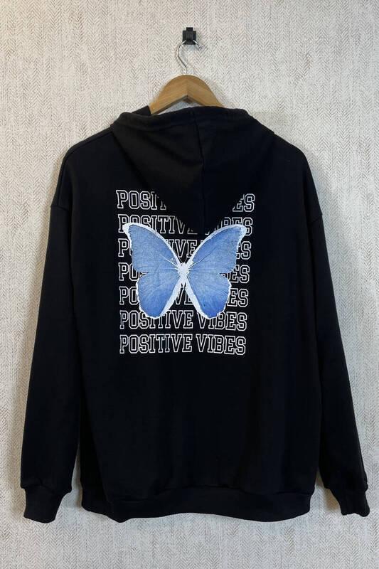 Zechka - Siyah Kanguru Cepli Sırt Baskılı Oversize Sweatshirt (zck0354)