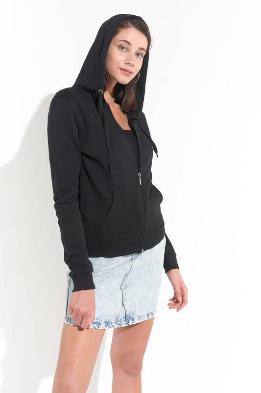 Zechka - Siyah Kapüşonlu Fermuarlu Uzun Sweatshirt(ZCK0174)