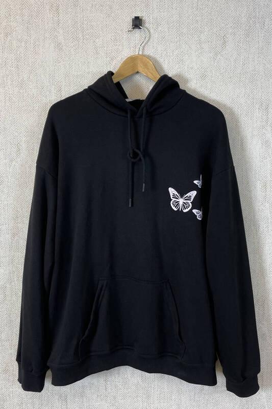 Zechka - Siyah Kapüşonlu Sırt Baskılı Oversize Sweat (zck0355)
