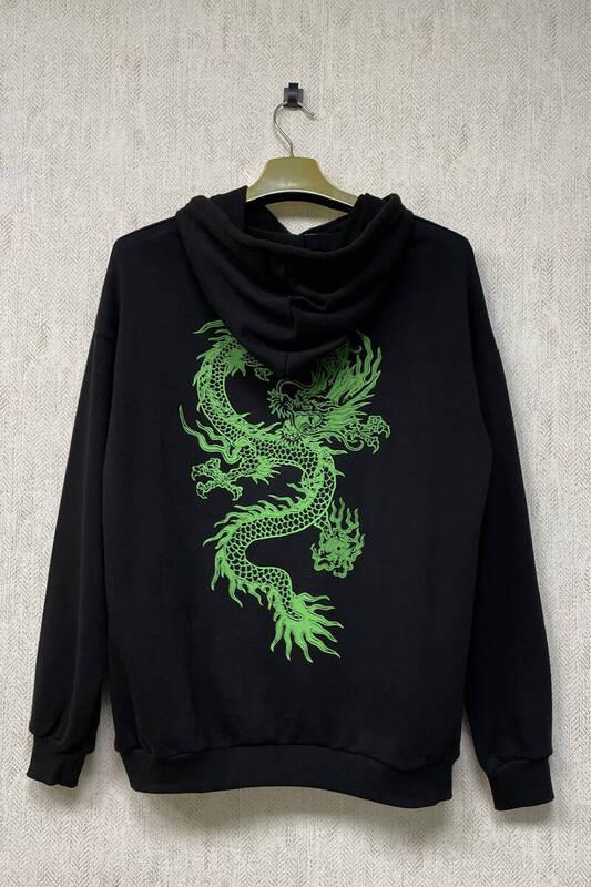 Zechka - Siyah Kapüşonlu Sırt Baskılı Oversize Sweatshirt (zck0349)