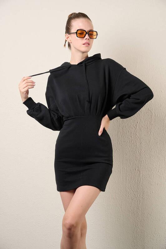 Zechka - Siyah Kapüşonlu Sweat Elbise