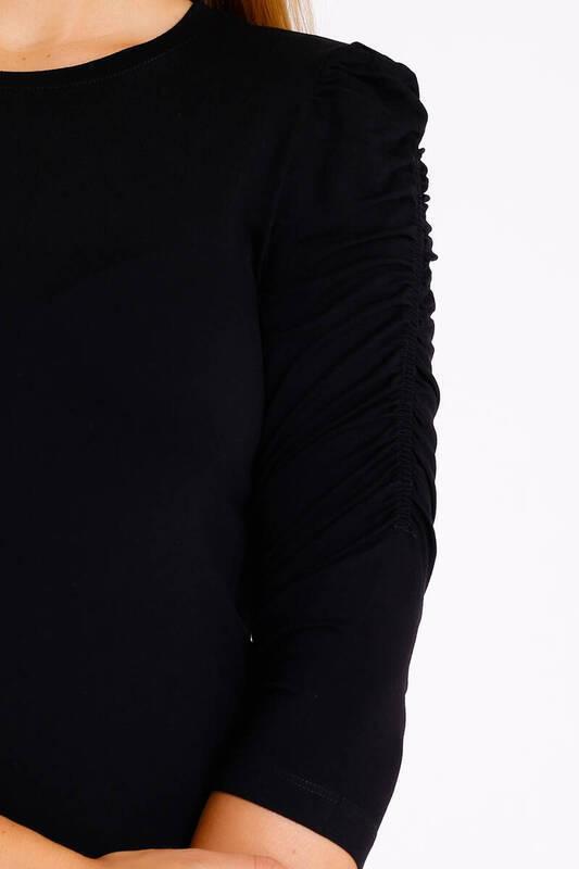 ZECHKA - SİYAH Kolları Büzgülü Bluz (BS007)