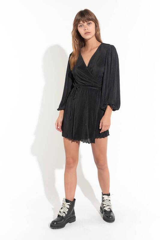 Zechka - Siyah Önden Bağlamalı Balon Kol Pliseli Elbise (ZCK0154)