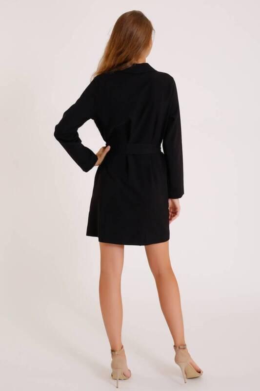 SİYAH Önden Bağlamalı Ceket Elbise