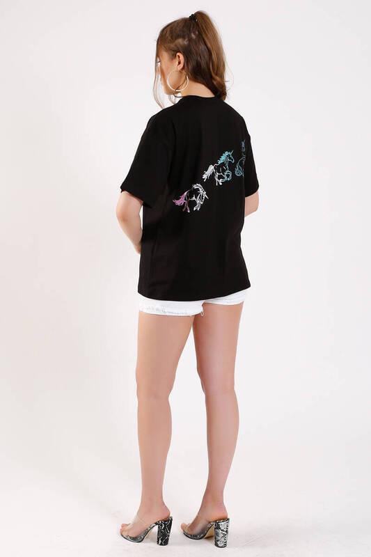 ZECHKA - SİYAH Önü Arkası At Baskılı T-Shirt (SA047)