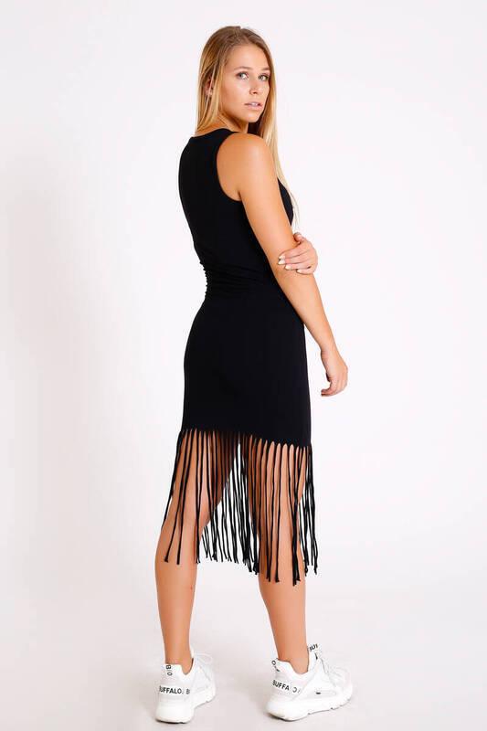 SİYAH Önü Baskılı Saçaklı Elbise (BS009)