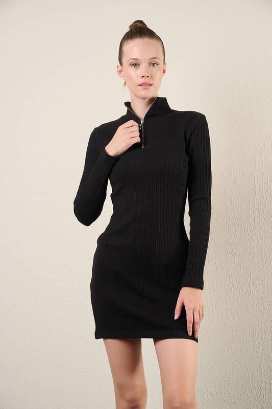 Zechka - Siyah Yarım Fermuarlı Elbise (zck0339)