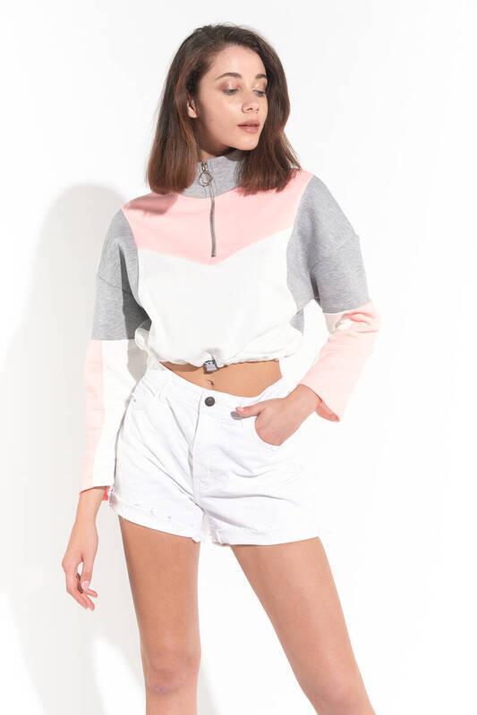 Zechka - Somon Üç Renk Parçalı Boğazı Fermuarlu Sweatshirt (ZCK0168)