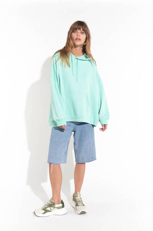 Zechka - Su Yeşili Kanguru Cep Kapüşonlu Oversize Sweatshirt (zck0110)