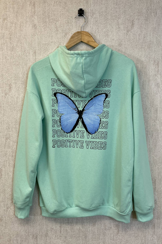 Zechka - Su Yeşili Kanguru Cepli Sırt Baskılı Oversize Sweatshirt (zck0354)