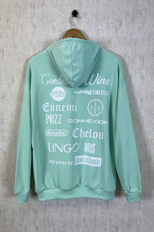 Zechka - Su Yeşili Kapüşonlu Sırt Baskılı Oversize Sweatshirt (zck0353)
