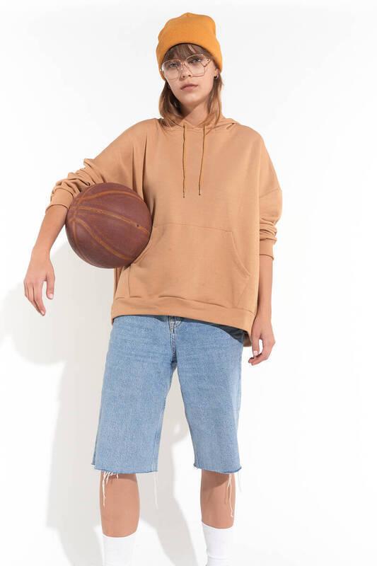 Zechka - Vizon Kanguru Cep Kapüşonlu Oversize Sweatshirt(zck0110)