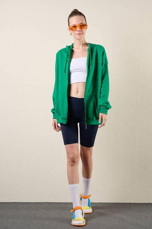 Zechka - Zümrüt Yeşili Fermuarlı Kapüşonlu Oversize Sweatshirt (zck0341)