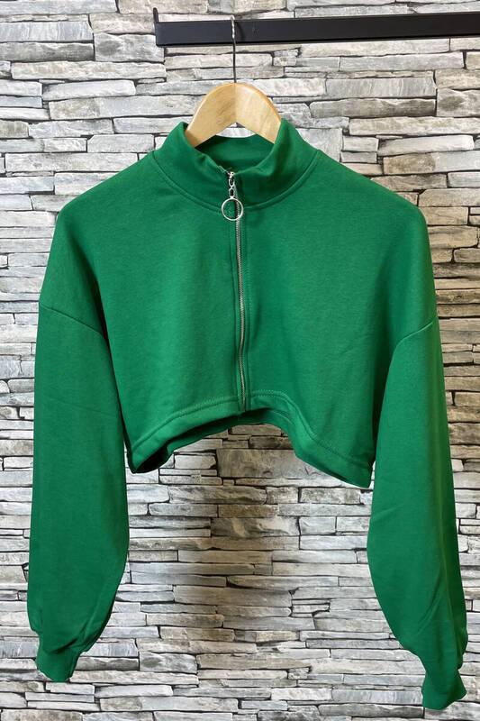 Zechka - Zümrüt Yeşili Fermuarlı Kısa Sweat (zck0357)