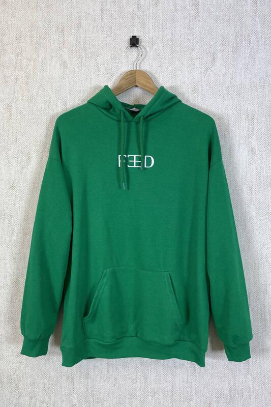 Zechka - Zümrüt Yeşili Kapüşonlu Sırt Baskılı Oversize Sweatshirt (zck0353)